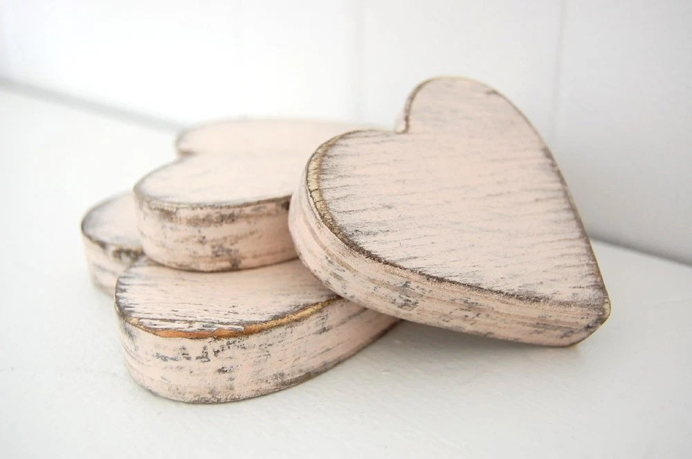 wooden hearts shabby chic pink cottage decor style wedding decor YOUR COLOR CHOICE - OldNewAgain