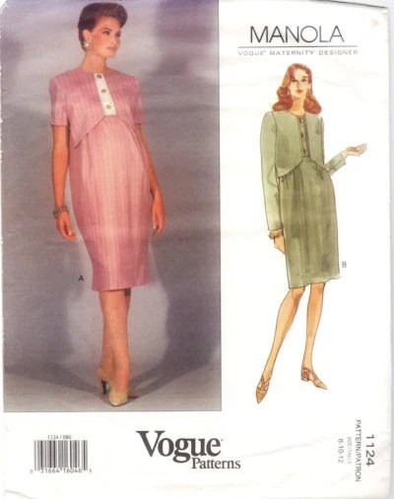 1990s maternity Manola dress pattern - Vogue 1124