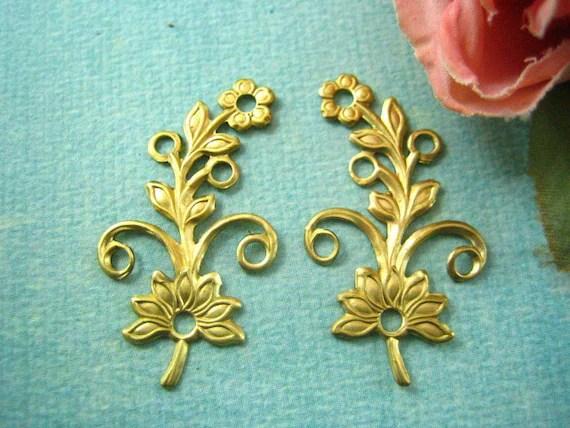 2pc floral raw brass jewelry findings (RB020) - yan4u