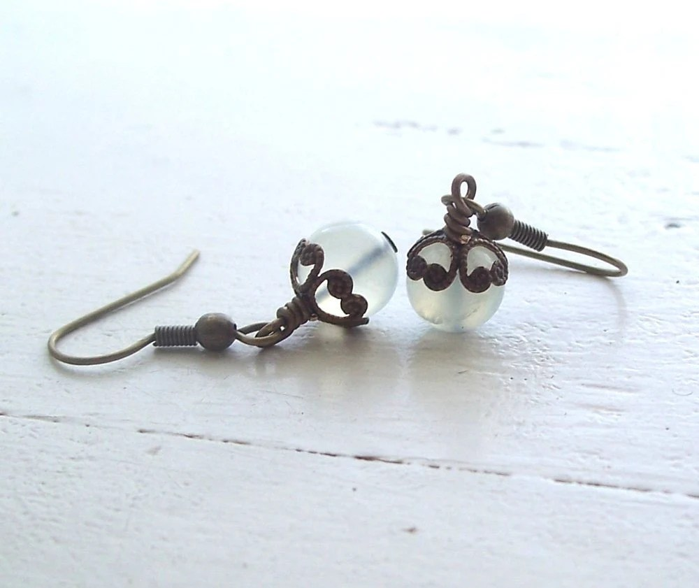 Free Shipping Antiqued Brass and New Jade Etruscan Earrings - KSInspirations