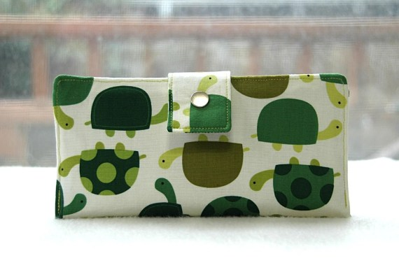 Handmade vegan bifold wallet clutch turtles on white background - happykathy