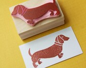 Dachshund Rubber Stamp - Sausage Dog Hand Carved Rubber Stamp - skullandcrossbuns