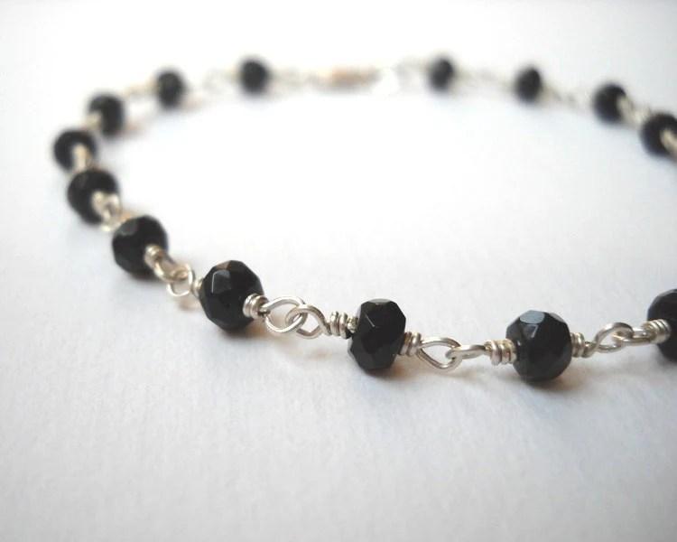 Black Onyx Bracelet - Beaded Bracelet Sterling Silver Bracelet Rosary Bracelet Midnight Black - VeronicaRussekJoyas