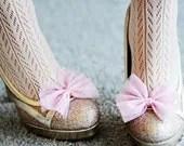 Pretty Sparkle Pink Bow Shoe Clips - PixelandHank