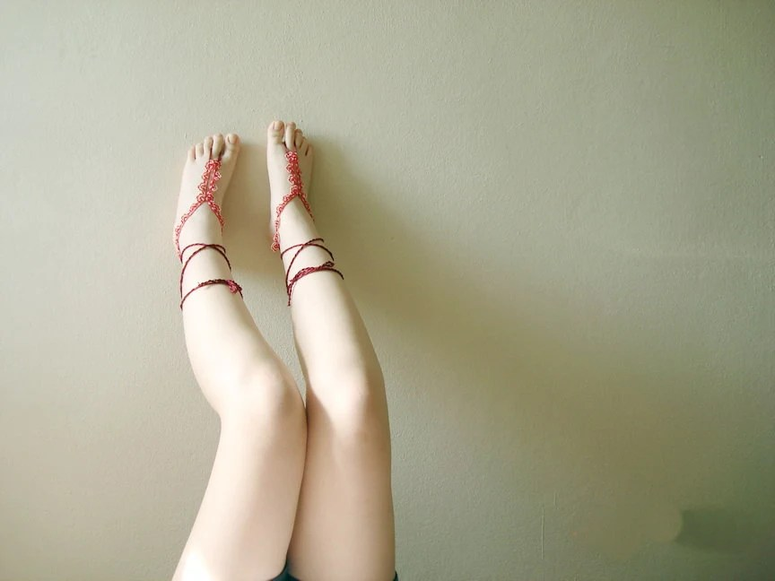 Beadwork lace oya crochet beaded barefoot sandal floral  food jewelry - seragun