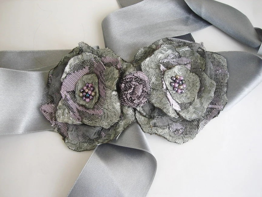 Grey Wedding Sash Belt  Satin Floral accessories - boutiqueseragun