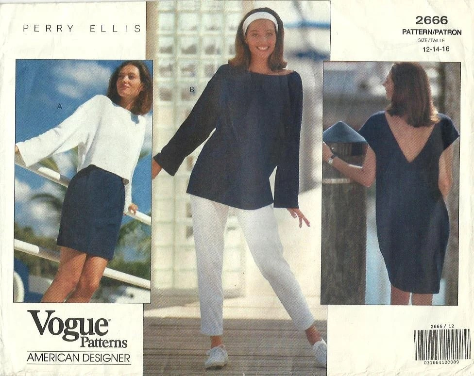 1990s Marc Jacobs for Perry Ellis pattern - Vogue 2666