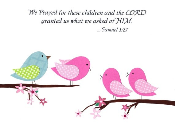 Baptism Gift, Nursery Art Print,  (8x10), We Prayed for These Children, Twins, Girls, Boys, Christian Art Print