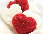 Valentine's Day Gift Soap Set Heart Soap - Red White Sweet Peppermint Vanilla Hostess Gift Decorative Soap - Valentine's Soap - SakuraBathAndBody