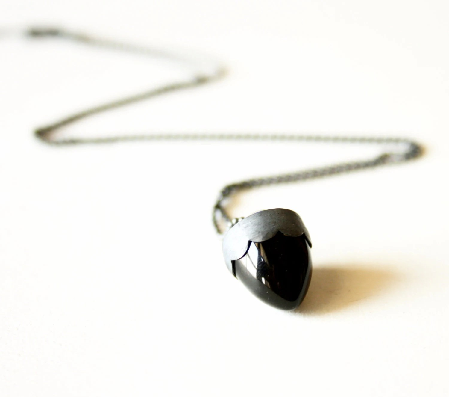 Black bullet Obsidian pendant necklace Sterling silver handmade gifts under 50 FREE SHIPPING - SilverLinesJewelry