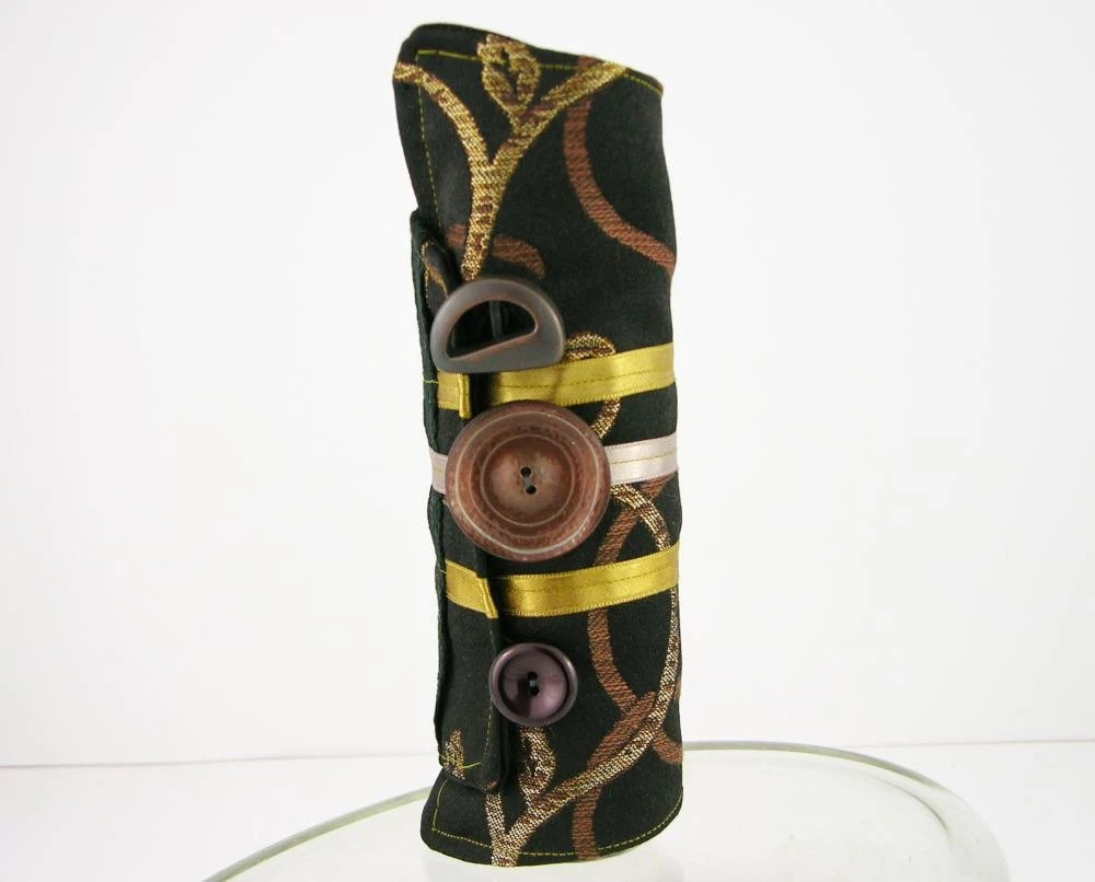 arm cuff eco friendly black brown bronze gold repurposed cotton ribbon victorian romantic steampunk men women unisex tagt curationnation - piabarile