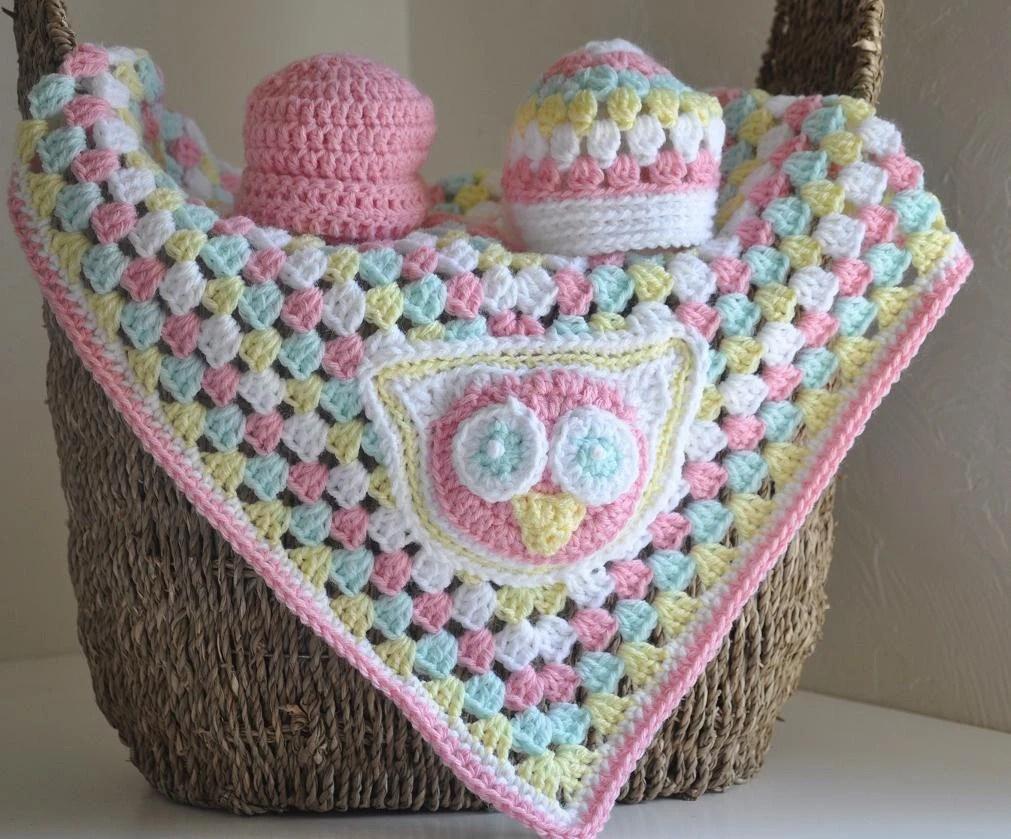 Custom Granny Baby  Blanket & 2 Hats Owl - Emmy - AllThingsGranny