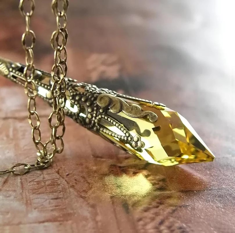 Citrine Yellow Necklace Antique Gold Brass Necklace Swarovski Yellow Crystal Pendant Necklace Golden Topaz