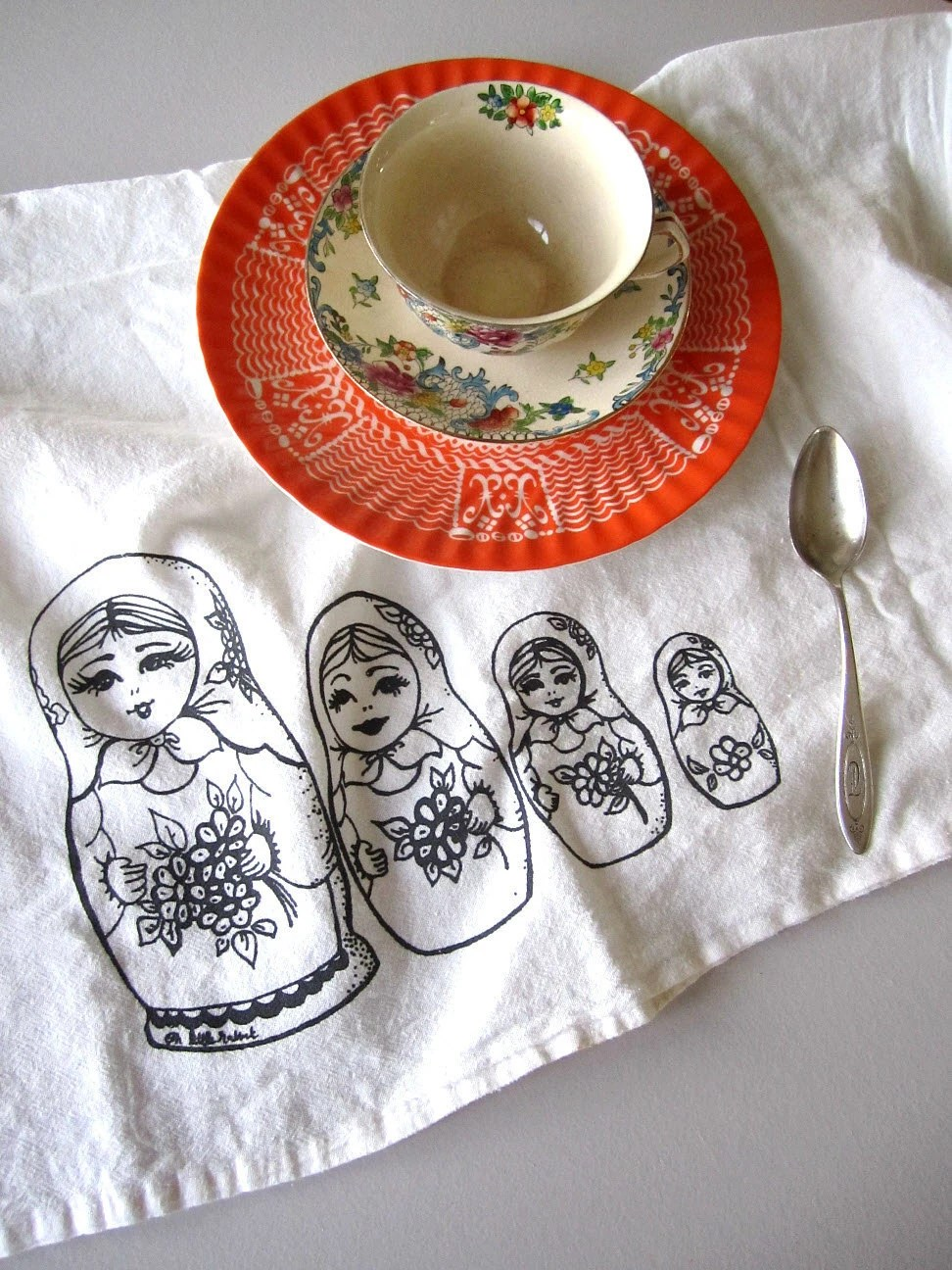 Tea Towel - Screen Printed Organic Cotton Nesting Dolls Flour Sack Towel - Soft and Absorbent - Awesome Kitchen towel - ohlittlerabbit