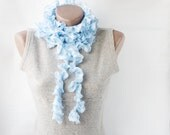 Crochet ruffled scarf -  long  soft frilly light  sky blue white spring fashion spring accessories - violasboutique