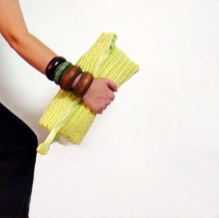 Neon Yellow Oversized Clutch Crochet Bag - faima