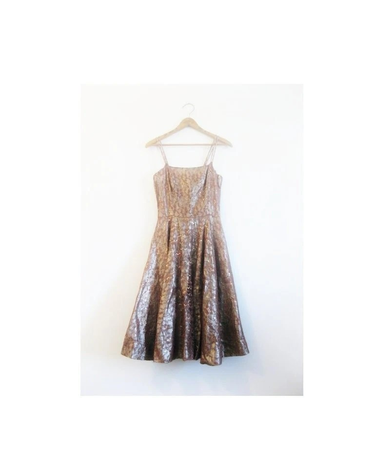 1940s-1950s METALLIC lace classic dress - croatiavintage