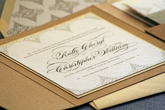 Delicate Filigree Classic Wedding Invitation shown in Bronze, Gold and Cream, Build-Your-Invite Collection - SAMPLE - JulieHananDesign