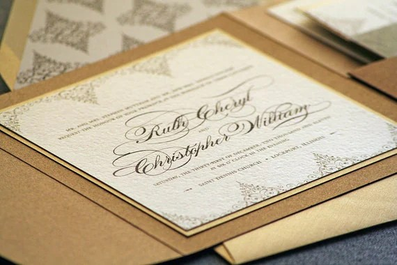 Delicate Filigree Classic Wedding Invitation shown in Bronze, Gold and Cream, Build-Your-Invite Collection - SAMPLE - JulieHananDesign