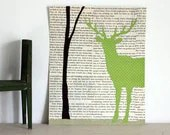 Deer Art, Deer in the Forest Collage, Woodland Wall Art With Green Stag and Tree, Deer With Antlers over Vintage Book Page Background, 8x10 - FiddleheadsForFiona