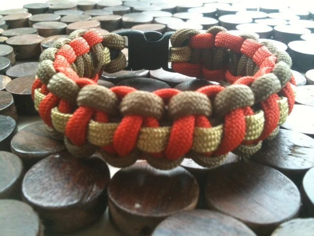 Coyote Brown and Orange Paracord Bracelet with Coyote Tan Thin Spine