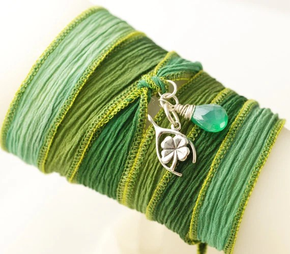 Hand Dyed Silk Ribbon Bracelet with a Sterling Silver Wishbone/Clover and a Green Onyx Crystal Quartz - MAKE A WISH - AnnieRehDesigns