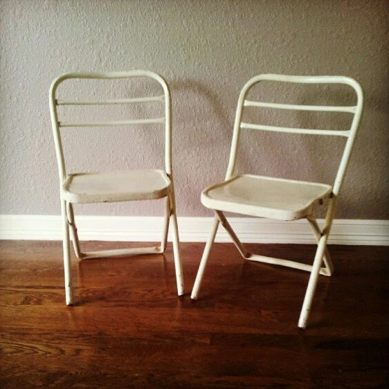 vintage folding metal school chairs : set of two back to school by 24pont - 24pont