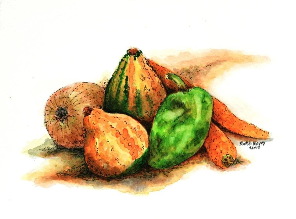 """Watercolor painting still life of fall gourds, peppers, carrots , and onions, original pen and ink 9"""" x 6"""" fall wall art - ruthsartwork"""