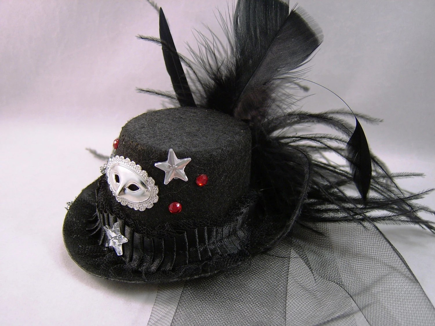 Top Hat Fascinator, Mask Masquarade Hair Ornament