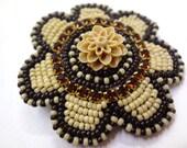 Brown Rhinestone Flower Hair Clip - MegansBeadedDesigns