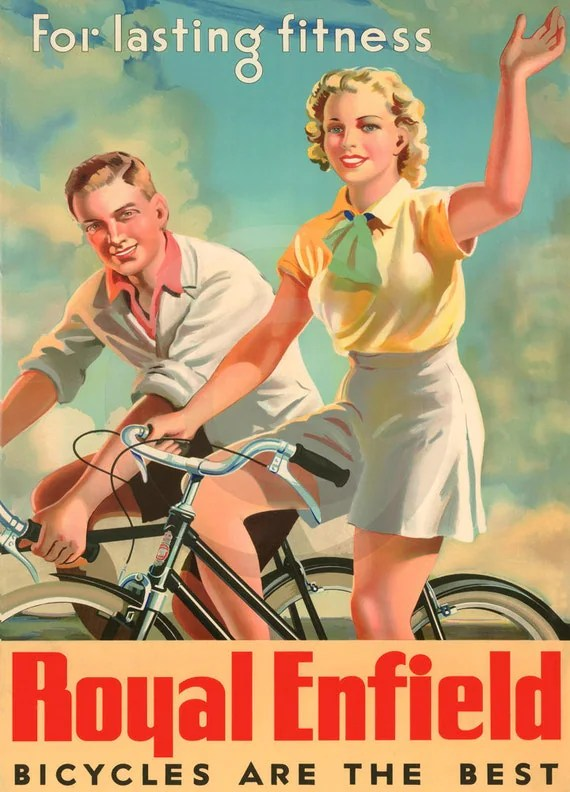 Royal Enfield Bicycles, For Lasting Fitness, 1930s Print