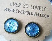 summer nights and starry skies - handmade teal blue sparkly metallic nickel free post earrings - EverSoLovely