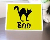 Halloween Greeting Card, Black Cat - MissTanDesigns