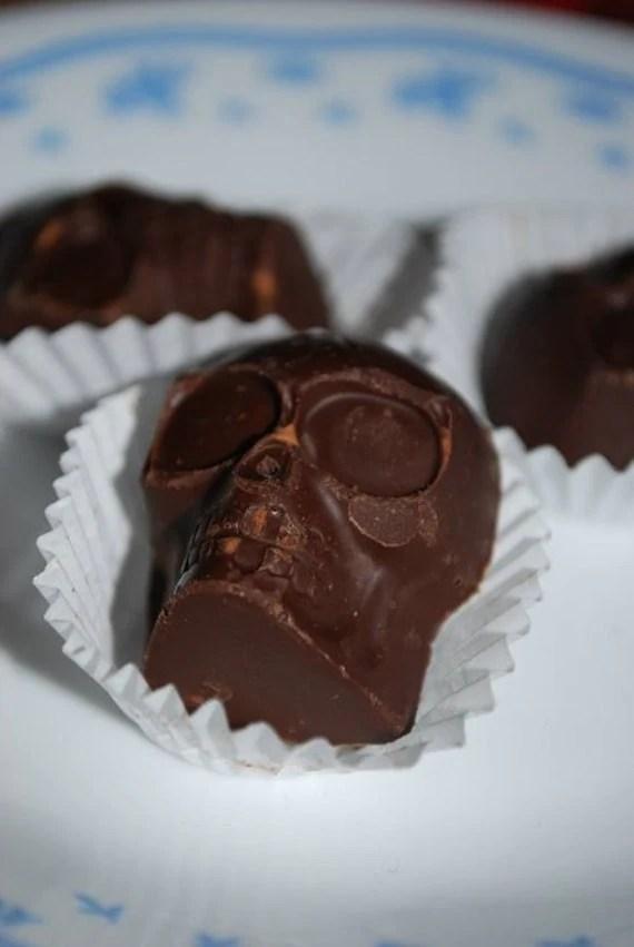Vegan Chocolate Skulls with almonds and sea salt