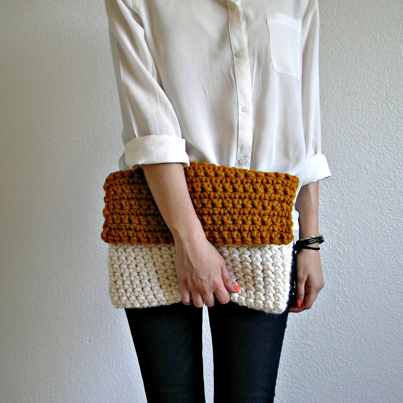 The Colmar Clutch - Fisherman & Butterscotch, knit crochet color blocking clutch, fold over clutch, size MEDIUM
