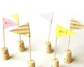 CUSTOM Wedding Flag Cupcake Toppers - Set of 40 - Custom patterns & colors - RisaRocksIt