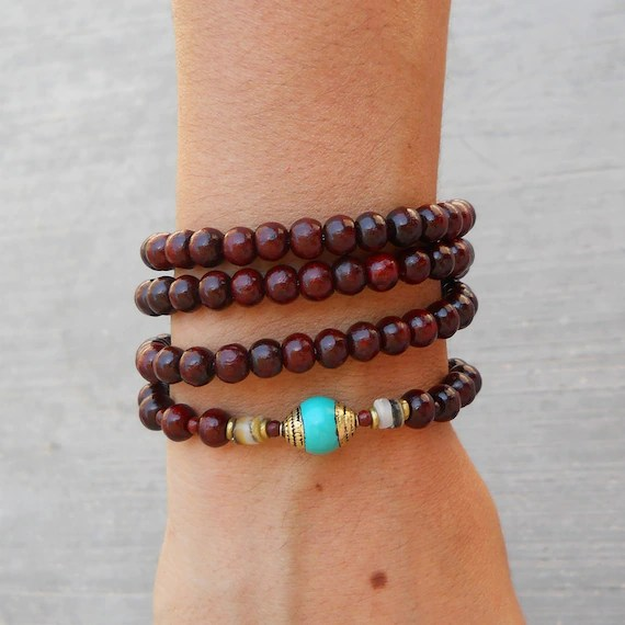 108 mala rosewood prayer beads and genuine hand made Turquoise gemstone guru bead wrap bracelet or necklace yoga jewelry
