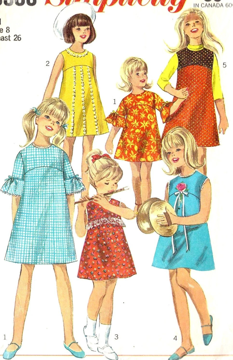 1960s Girls' dress or jumper Vintage sewing Pattern, Simplicity 6903 size 7