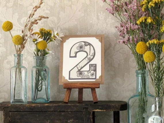 Custom Wedding Table Numbers  -                          Tiny Art w/ Easel - Rustic, Vintage-Inspired, Natural