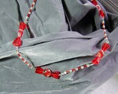 One of a Kind Transparent and Red Candy Necklace - Handmade by Rewondered D225N-99204