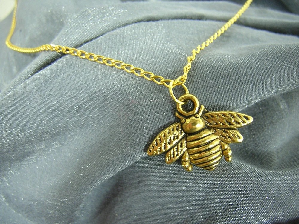 Golden Bumblebee on Gold Chain Simple Charm Necklace - Handmade by Rewondered D225N-00605 - $6.95