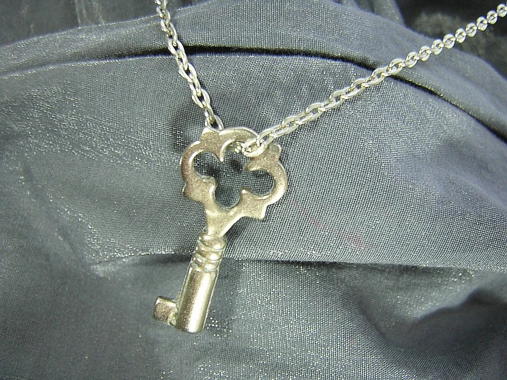 Silver Key on Silver Chain Simple Charm Necklace - Handmade by Rewondered D225N-00282 - $7.95