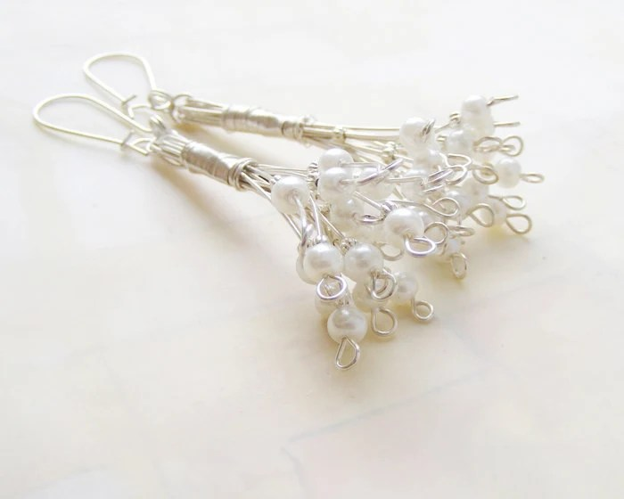 Pearl earrings, bridal jewelry, vintage wedding earrings, white, bridesmaid jewelery - kapelusznik