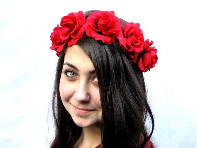 Rose Flower Crown - Red Rose Crown, Rose Headband, Fourth of July, July 4th, Rose Crown, Festival Wear, Frida Khalo - BloomDesignStudio