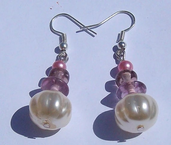 Pink and Pearly Drop Bead Earrings