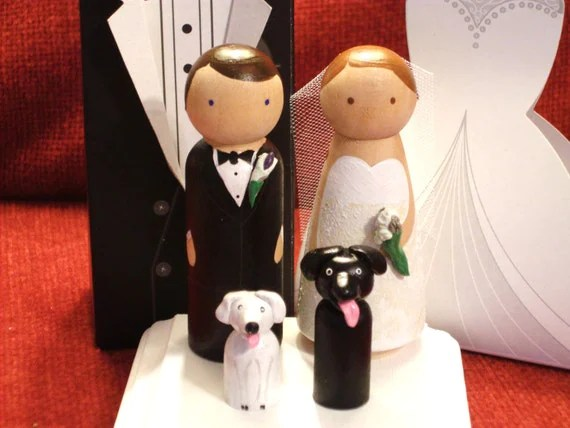 Wedding Cake Toppers with Two Pets Fully Customizable---3-D Accents
