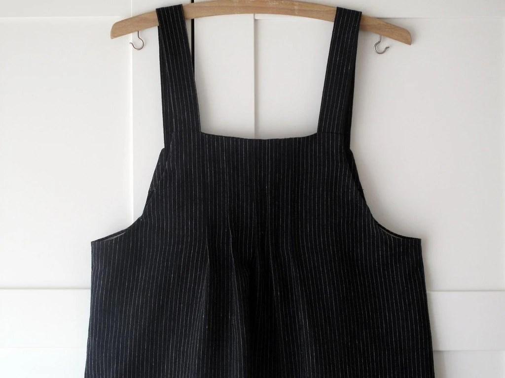 Women's linen dress, pinafore, japanese style, black . Sizes S, M, L. - arch190