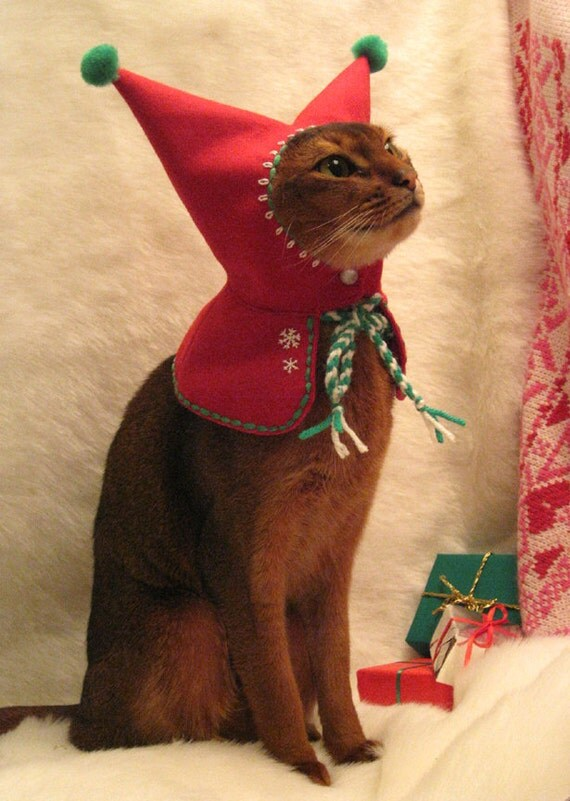 wool embroidered Meowy Christmas Holiday Elf Hood for cat plus free catnip toy