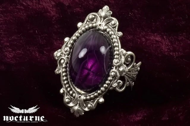 Purple Stone Victorian Ring - Silver Plated Ornate Gothic Ring - Goth Victorian Jewelry