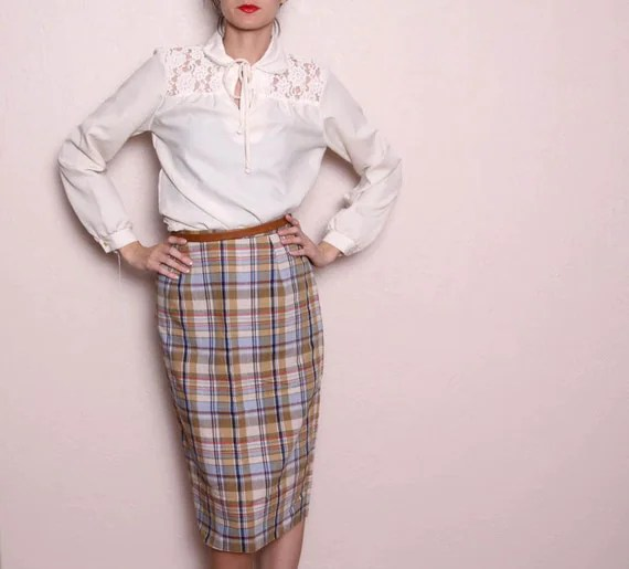 Vintage Plaid High Waisted Pencil Skirt by vintagespins on Etsy